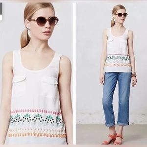 LEIFNOTES Anthro beaded embellished top blouse